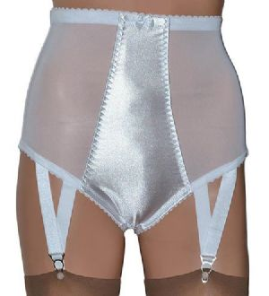 White Satin and Power Mesh Panty Girdle with Suspenders, Retro Style